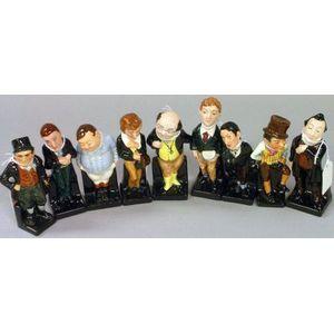 Nine Small Royal Doulton Porcelain Dickens Figures