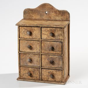 Salmon-painted Eight-drawer Spice Box