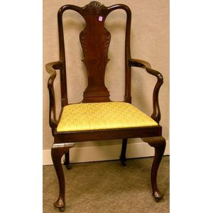 Queen Anne Style Carved Mahogany Armchair.