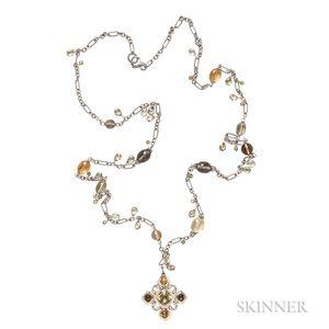 Sterling Silver and 18kt Gold Gem-set Necklace, David Yurman
