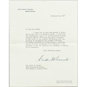 Roosevelt, Franklin Delano (1882-1945) Typed Letter Signed, Washington, DC, 16 February 1937.