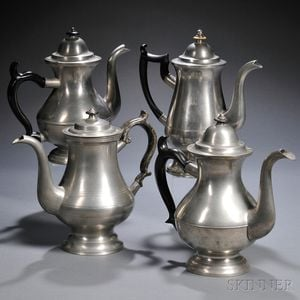 Four Pewter Coffee/Teapots