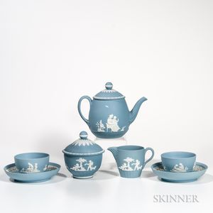 Five-piece Wedgwood Solid Pale Blue Jasper Tea Set