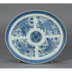 Large Oval Blue Fitzhugh Pattern Porcelain Platter