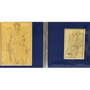 Maxime Boulard de Villeneuve (French, 1884-1971)      Two Framed Drawings: Femme Tricotant