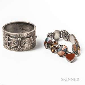Engraved English Sterling Silver Hinged Bangle and a Scottish Agate and Silver Bracelet