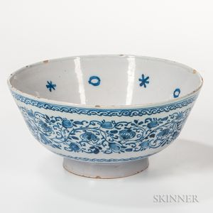 Blue and White Decorated Tin-glazed Earthenware Punch Bowl