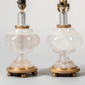 Pair of Louis XVI-style Rock Crystal Lamp Bases