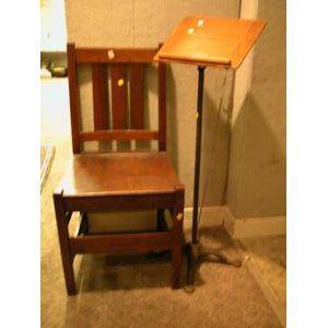 Arts and Crafts Oak Side Chair and an Oak and Cast Iron Sheet Music Stand.