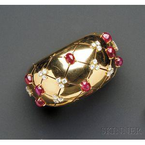14kt Gold, Ruby and Diamond Bangle Bracelet