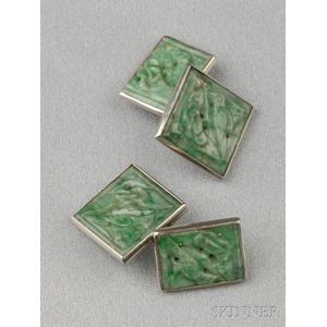 14kt White Gold and Jade Cuff Links
