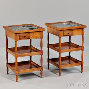 Pair of Louis Philippe Marble-top Fruitwood Rafraichissoir Tables