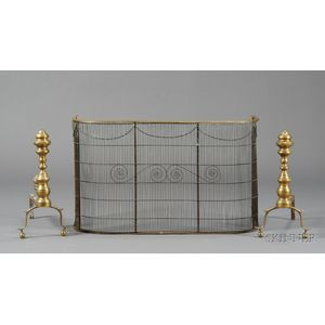 Pair of Brass Baluster-form Andirons and a Small Brass and Wirework Fire Fender