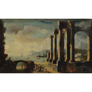 School of Leonardo Coccorante (Italian, 1700-1750)      Landscape with Classical Ruins and Figures