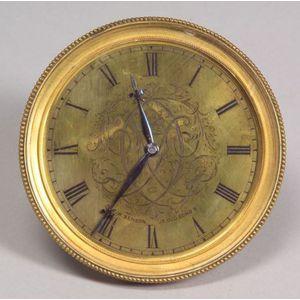 Brass Dial Desk Clock by J. W. Benson
