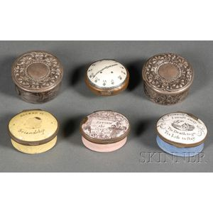 Six Enamel Decorated Patch Boxes
