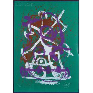 Joan Miró (Spanish, 1893-1983)      Chevauchée - vert, violet, brun