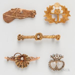 Five Gold Figural Brooches