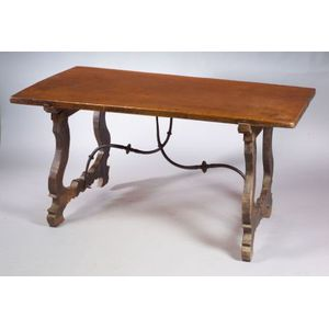Iberian Walnut and Wrought Metal Mounted Table