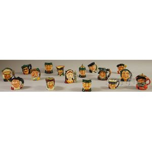 Fourteen Assorted Royal Doulton Ceramic Character Jugs and Two Lighters