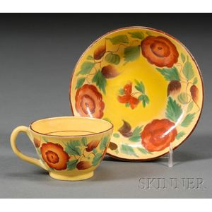 Floral Decorated Yellow Glazed Earthenware Cup and Saucer