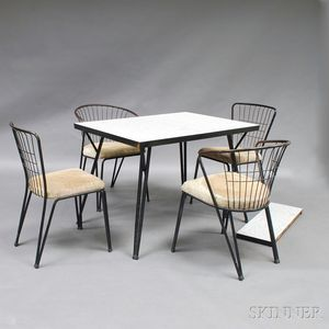 Mid-century Modern Graphic Table with Four Wirework Chairs
