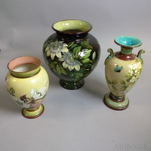 Three Floral-decorated Doulton Vases
