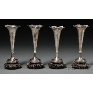 Set of Four Chinese Export Silver Bud Vases