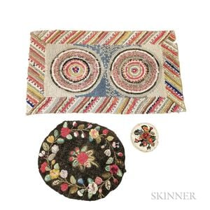 Floral-decorated Hooked Mat and Two Shirred Mats