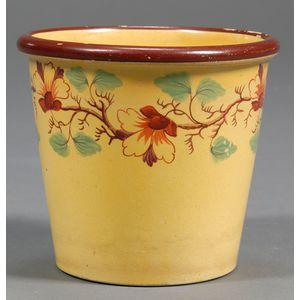 Small Yellow Glazed Earthenware Flower Pot