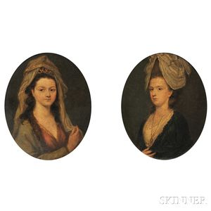 British School, Late 18th Century      Pair of Bust Portrait Studies of Young Women