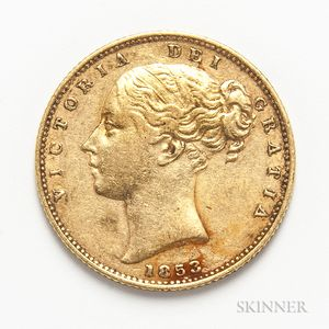 1853 British Gold Sovereign.     Estimate $300-500