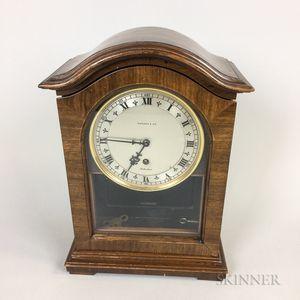 Rotherham for Tiffany Walnut Veneer and Glass Shelf Clock
