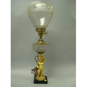 Gilt-metal Cherub Figural and Etched Glass Oil Lamp.