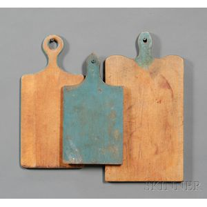 Three Blue-painted Wooden Cutting Boards