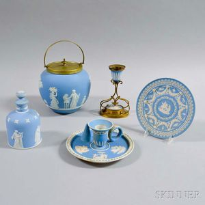 Five Wedgwood Light Blue Jasper Items