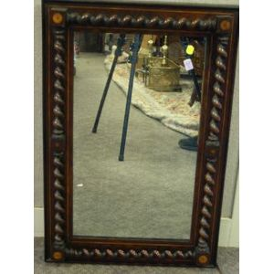 Rosewood Inlaid Barley-Twist Column Mirror.
