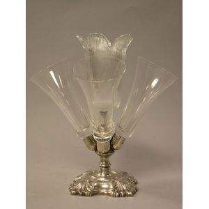 Silver Plated and Colorless Glass Epergne.