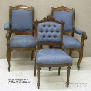 Set of Four Victorian Rococo Revival Upholstered Parlor Armchairs and a Pair of Renaissance Revival Upholstered...