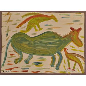 Mose Tolliver (American, 1919-2006)      Japaneel Horse with a French Bird and a Singin