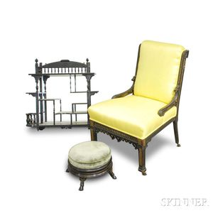 Aesthetic Movement Black-lacquered Chair, Stool, and Etagere