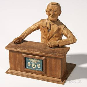 "Wood Carving of President Franklin Delano Roosevelt ""The Man for the Hour,"""