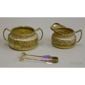 Gorham Sterling Silver Creamer, Sugar Bowl, and Tongs