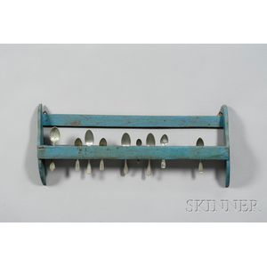 Blue-painted Hanging Wooden Spoon Rack with Nine Pewter Spoons