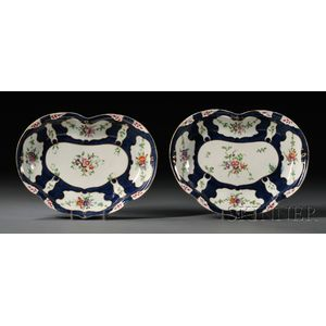 Pair of Worcester Porcelain Scale Blue Heart-shaped Dishes