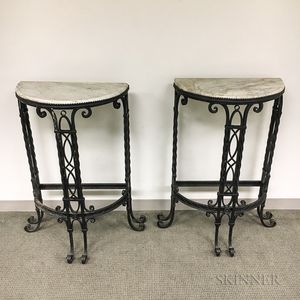 Pair of Wrought Iron Marble-top Demilune Console Tables