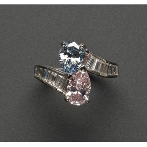Fancy Colored Diamond and Diamond Twin-stone Bypass Ring