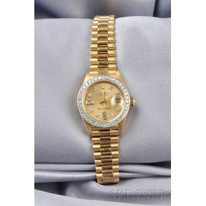 Ladies 18kt Gold and Diamond Wristwatch, Rolex