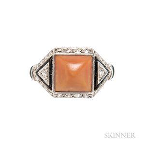 Art Deco Platinum, Coral, Onyx, and Diamond Ring
