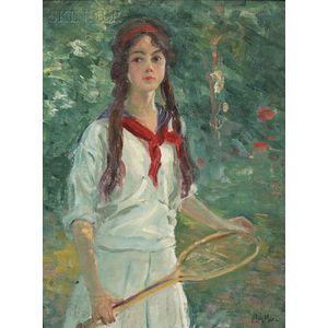 Francis Luis Mora (American, 1874-1940)      Young Girl Holding a Tennis Racquet, c. 1900-1905